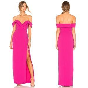 NBD Samuel OTS Pink Bodice Slit Maxi Dress size XS